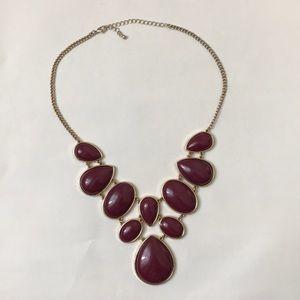 Jewelry - Gold with Purple Stones Bib Costume Necklace